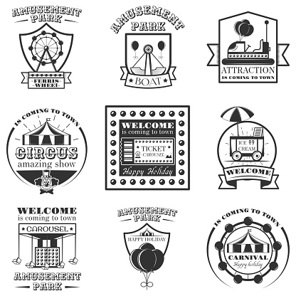 Vector set of amuesment park labels and design elements in vintage style. Black and white amusement park symbols, s, bages and design element