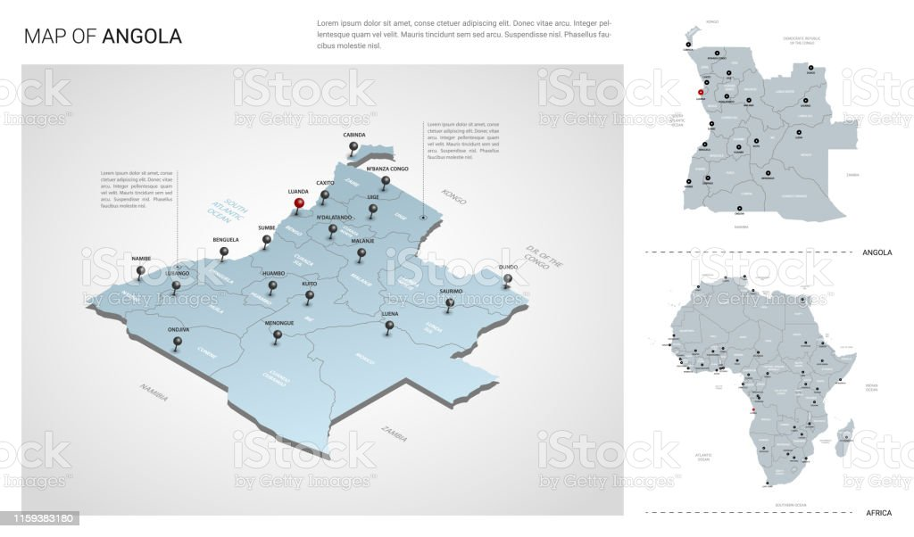 Picture of: Vector Set Of Angola Country Isometric 3d Map Angola Map Africa Map With Region State Names And City Names Fonts Myriad Pro Roboto Stock Illustration Download Image Now Istock