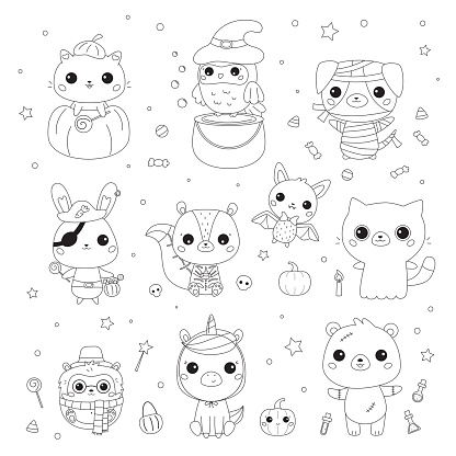 Vector set of animals in Halloween costumes. Coloring page for preschool children. Cute kawaii cartoon characters. Black and white illustration. Cat in pumpkin, bunny pirate, bat vampire, bear zombie