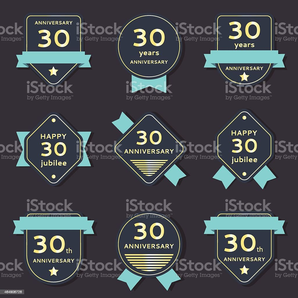 Vector set of anniversary banners vector art illustration