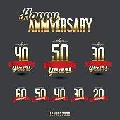 Vector set of anniversary golden signs.