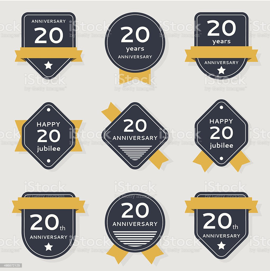 Vector set of anniversary labels vector art illustration