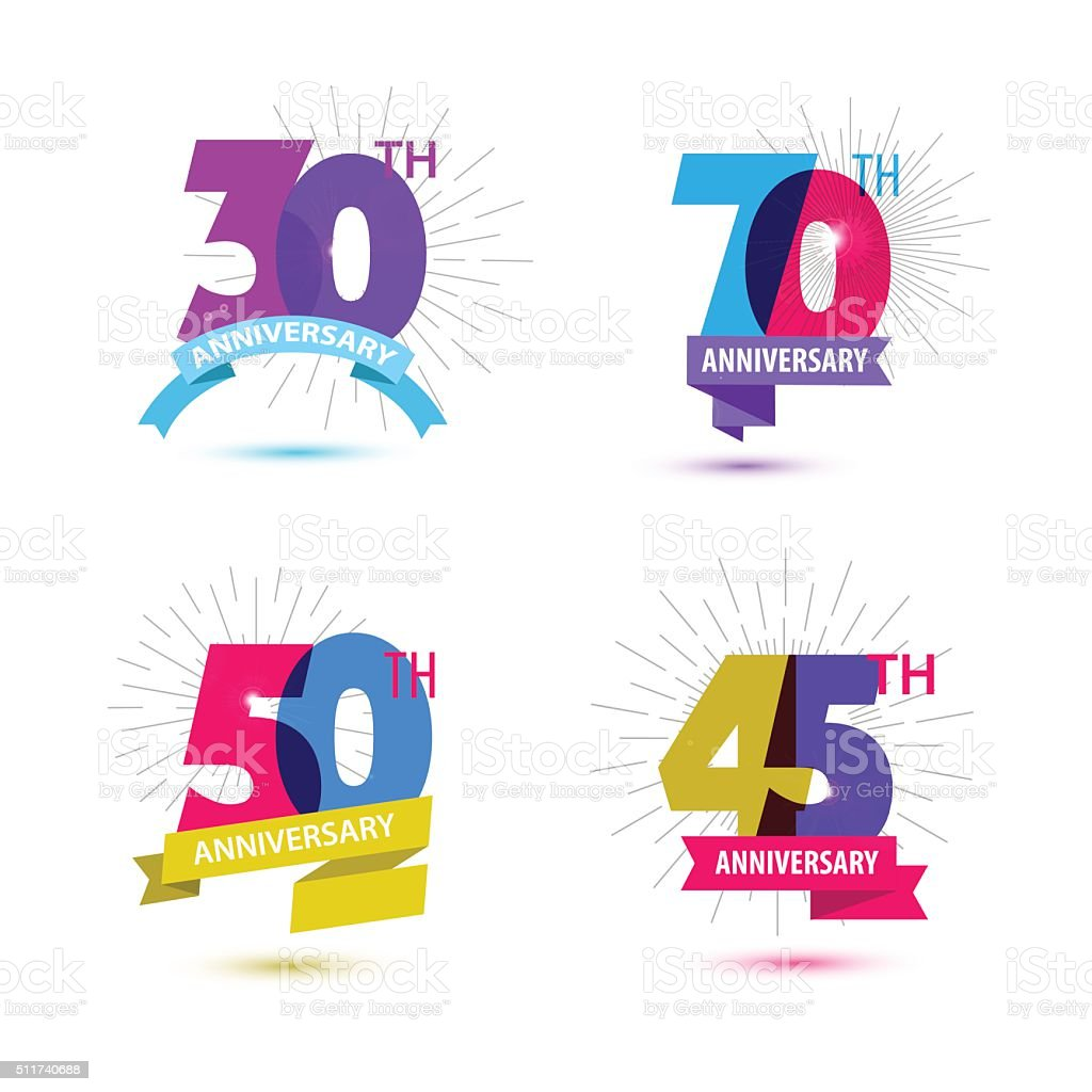 Vector set of anniversary numbers design. 30, 70, 50, 45 vector art illustration