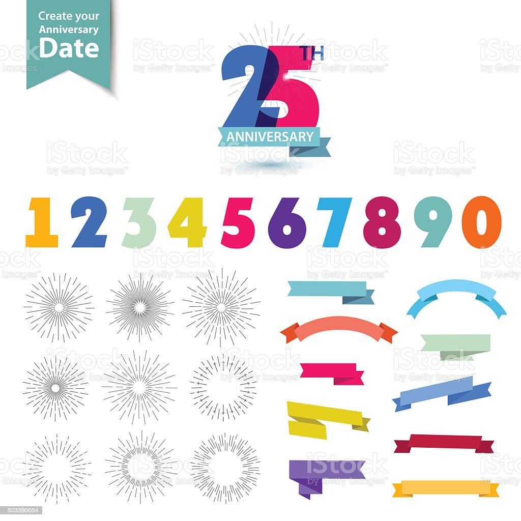 Vector set of anniversary numbers design. Create your own icons vector art illustration
