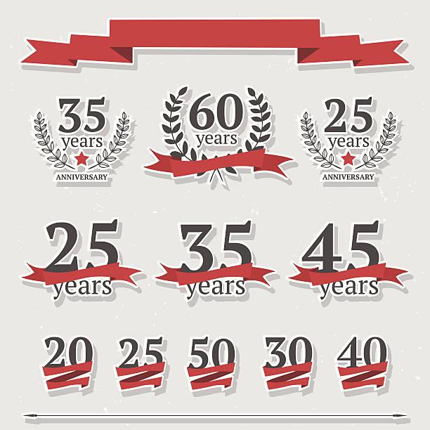ilustrações, clipart, desenhos animados e ícones de vector conjunto de sinais de aniversário - 35 39 anos