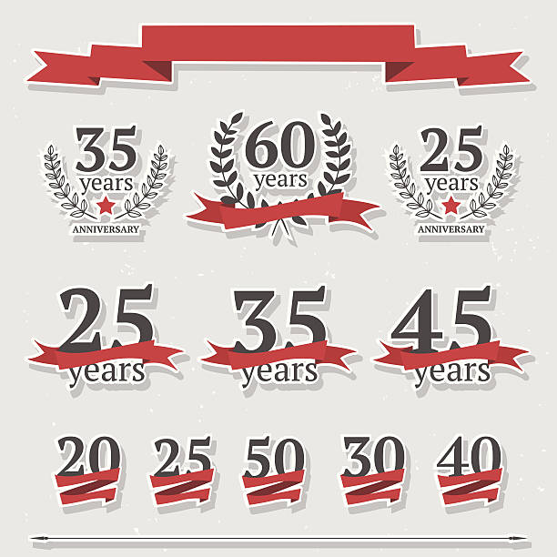 Vector set of anniversary signs vector art illustration