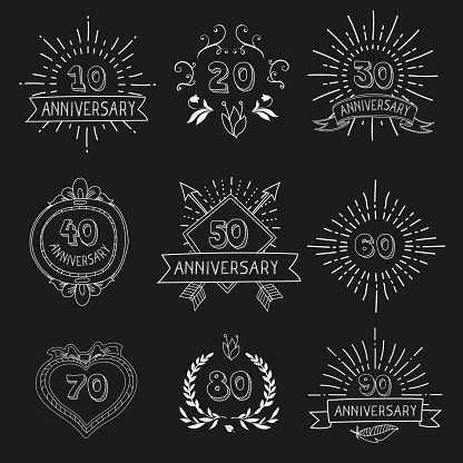 Vector set of anniversary signs hand drawn   vector