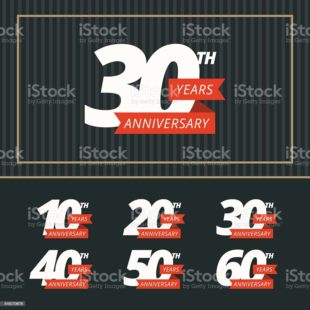 Vector set of anniversary signs. royalty-free vector set of anniversary signs stock illustration - download image now