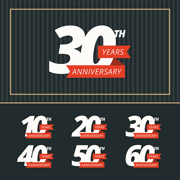 Vector set of anniversary signs. vector art illustration