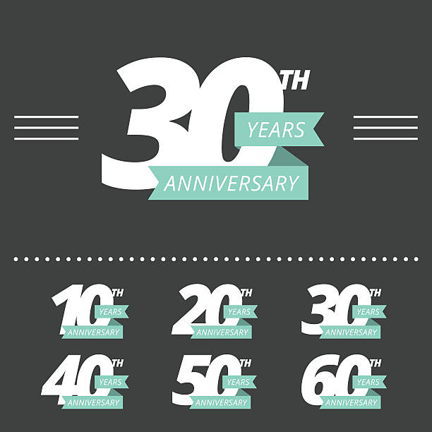 stockillustraties, clipart, cartoons en iconen met vector set of anniversary signs. - jubileum