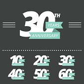 Vector set of anniversary signs.