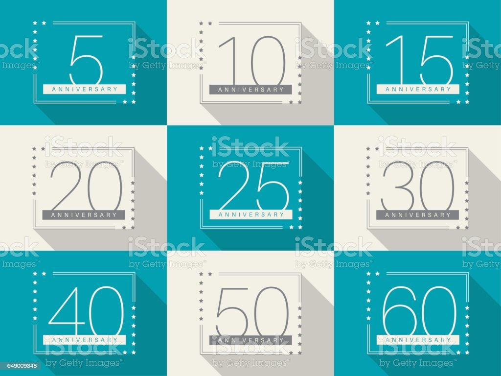 Vector Set Of Anniversary Symbols 5th 10th 15th 20th 25th 30th 40th