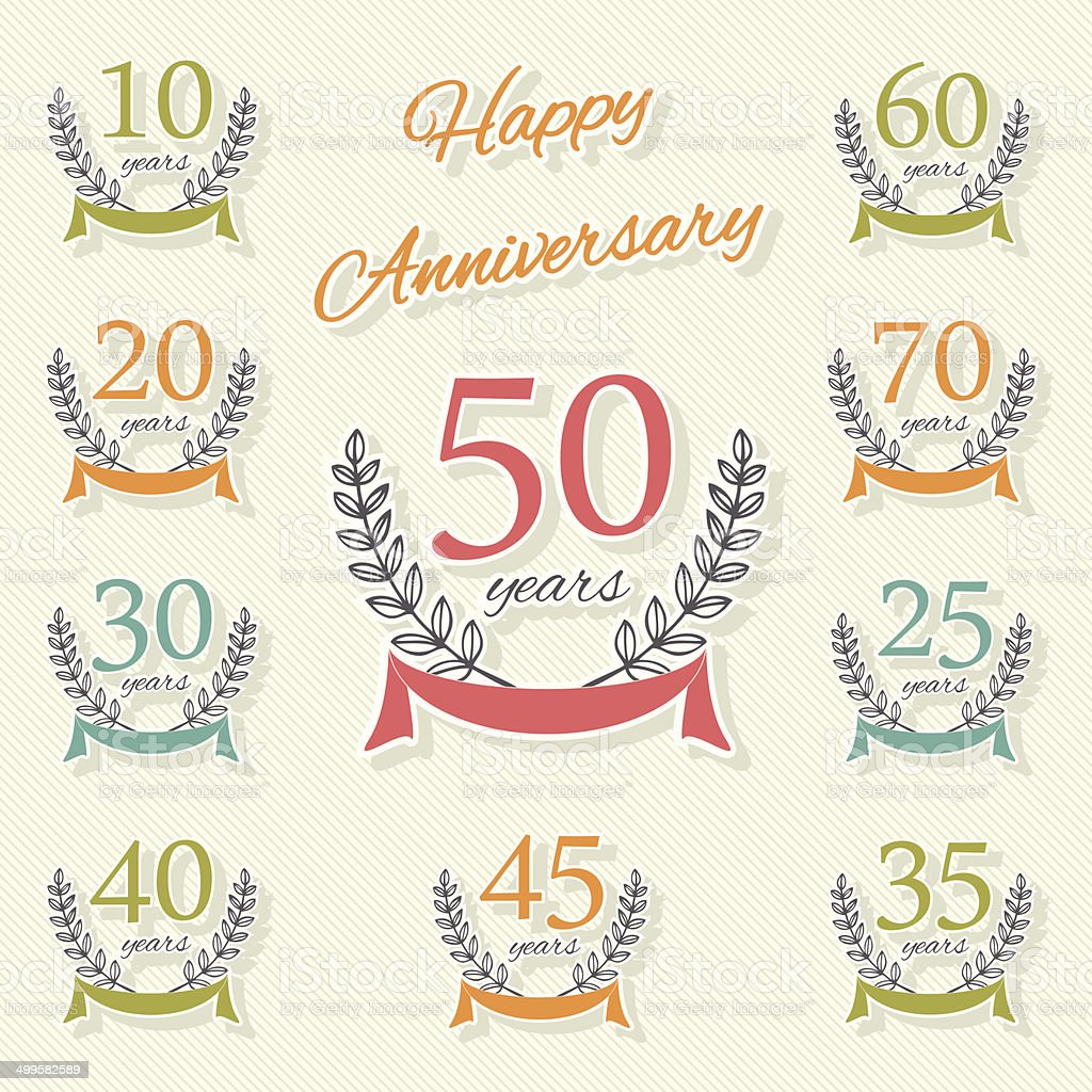 Vector Set Of Anniversary Symbols Stock Vector Art More Images Of