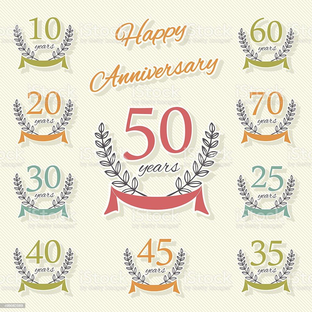 Vector set of anniversary symbols vector art illustration