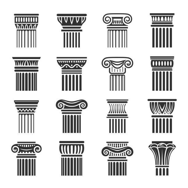 illustrations, cliparts, dessins animés et icônes de ensemble de vecteur de colonne ornement antique icônes en couleurs noir et blancs. plat exquis. - rome