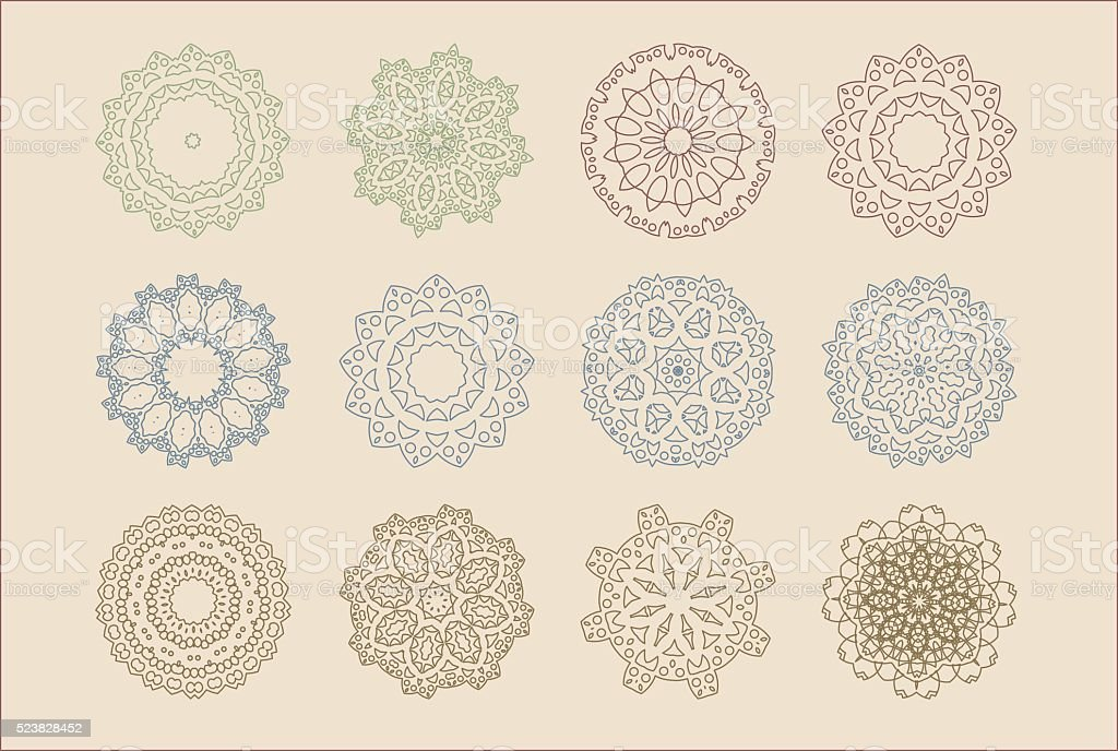 Vector set of arabic oriental retro indian circular mandala patterns vector art illustration