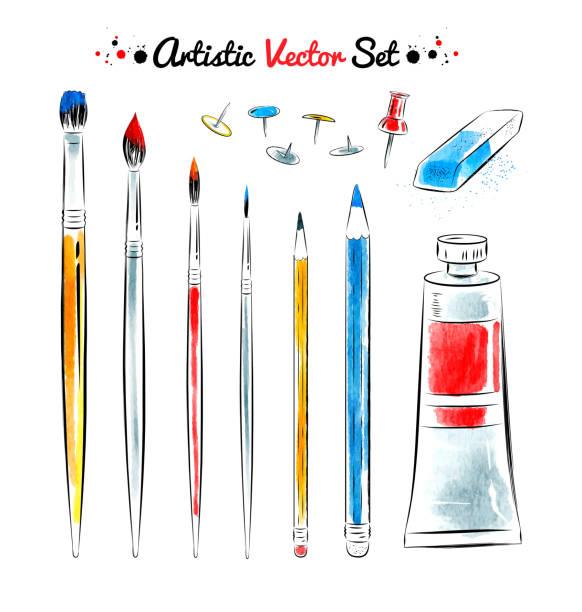 Vector conjunto de herramientas de arte. - ilustración de arte vectorial