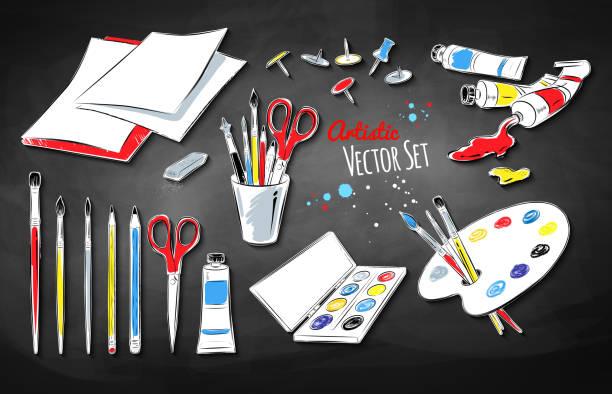 vektor-set der künstler zubehör - kunstunterricht stock-grafiken, -clipart, -cartoons und -symbole