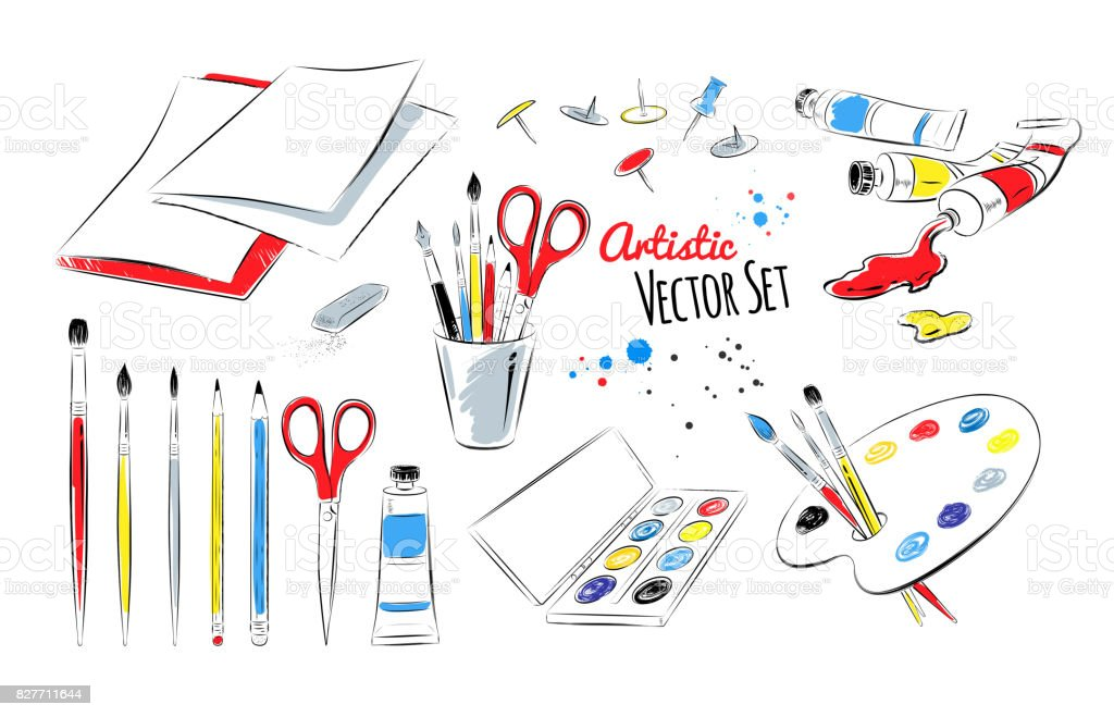 Vector set of artists supplies vector art illustration