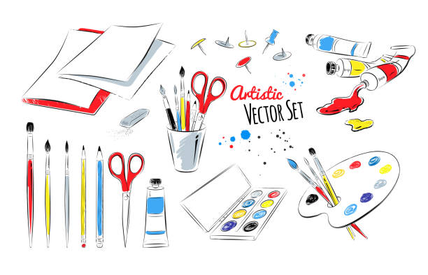 Jeu de fournitures d'artistes vectorielles - Illustration vectorielle