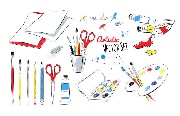 Vector set of artists supplies vector art illustration