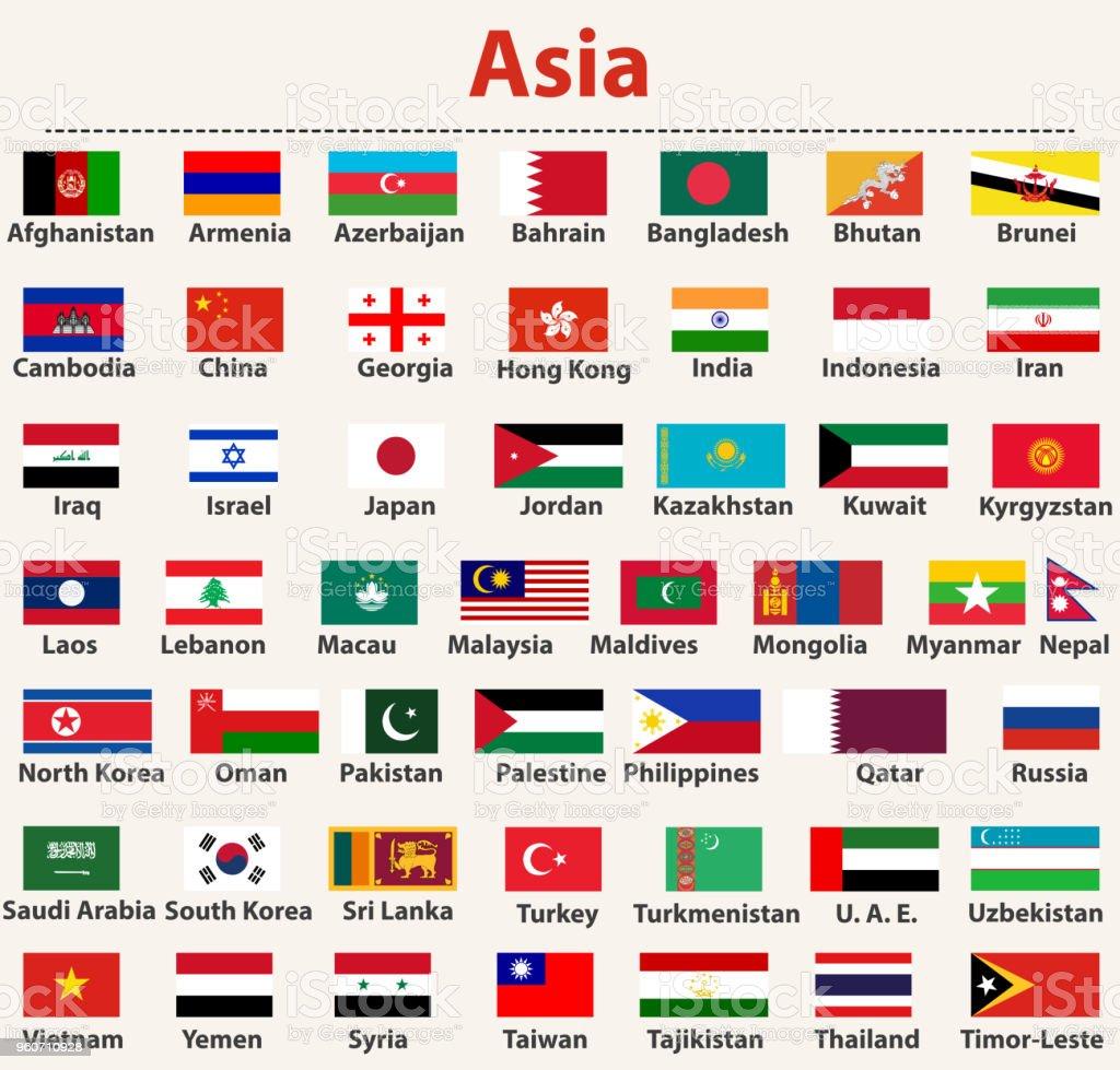 vector set of asian flags arranged in alphabetical order vector art illustration