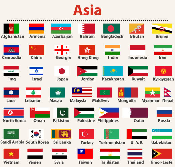 vector set of asian flags arranged in alphabetical order - thai flag stock illustrations, clip art, cartoons, & icons