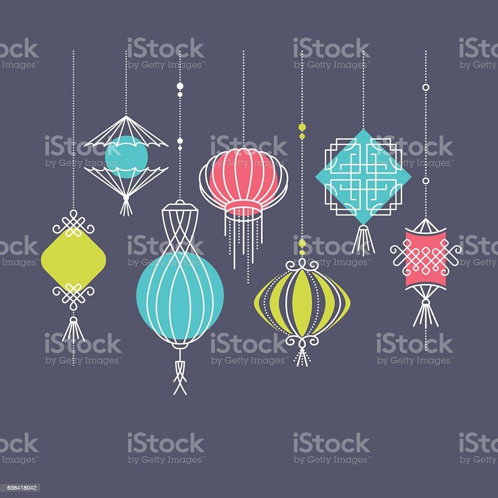 Vector set of asian street and holiday lanterns vector art illustration