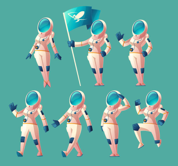 Vector set of astronaut girls in different poses Vector set with cartoon astronaut girl in spacesuit and helmet, in different poses, holding flag, waving hand, walking, running. Clipart with cute women cosmonaut characters, space explorer or pilot astronaut floating in space stock illustrations