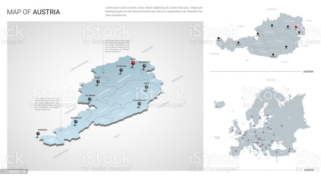 Vector Set Of Austria Country Isometric 3d Map Austria Map ...