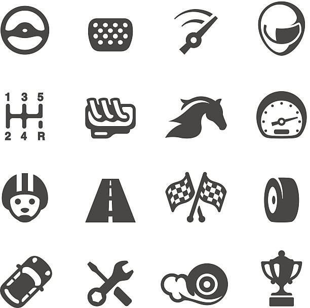 Vector set of auto racing icons Mobico icons collection - Auto Racing gearshift stock illustrations