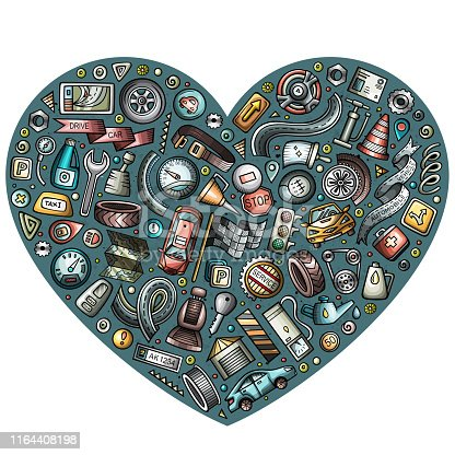 Colorful vector hand drawn set of Automobile cartoon doodle objects, symbols and items. Heart composition
