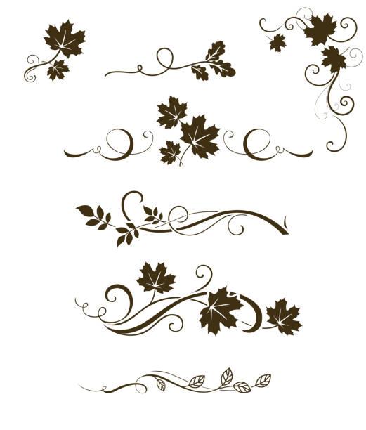 stockillustraties, clipart, cartoons en iconen met vector set van herfst kalligrafische elementen, scheidingslijnen en ornamenten met esdoorn, eik en rowan bladeren voor pagina decor en frame ontwerp. decoratieve silhouet - maaswerk