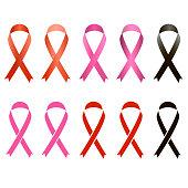 Vector set of awareness ribbons