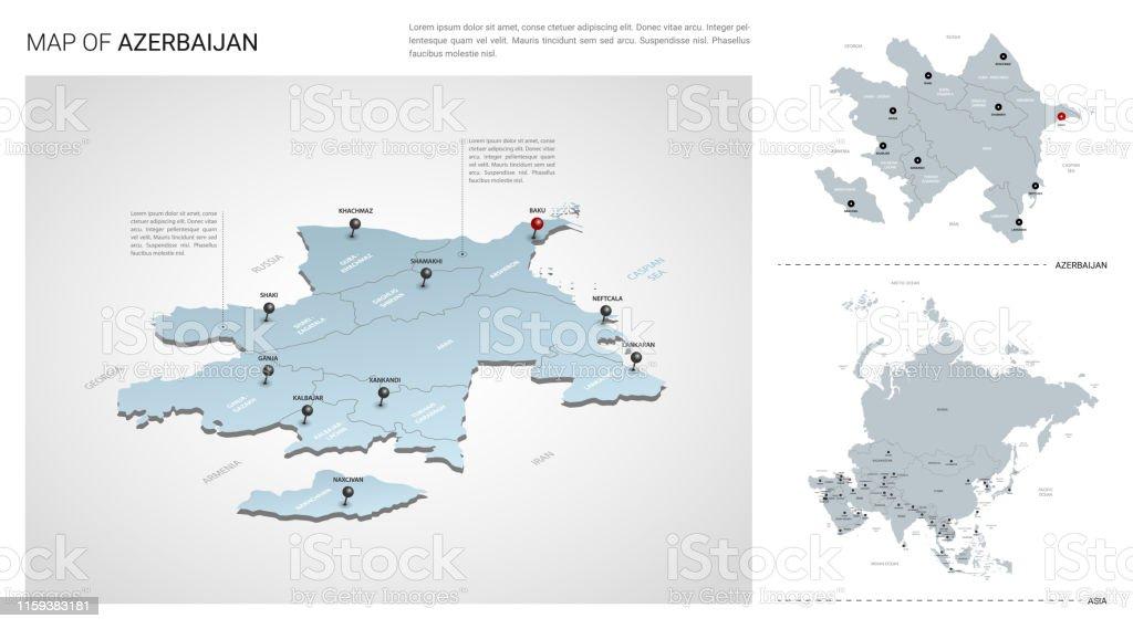 Vector Set Of Azerbaijan Country Isometric 3d Map Azerbaijan ...