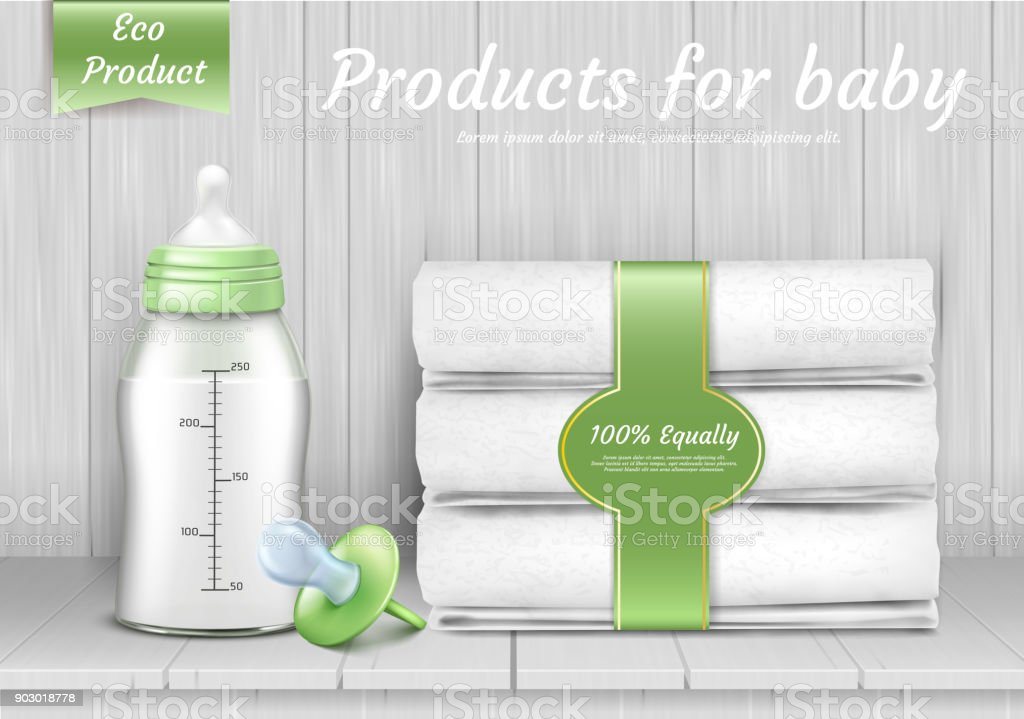 Vector set of baby care accessories