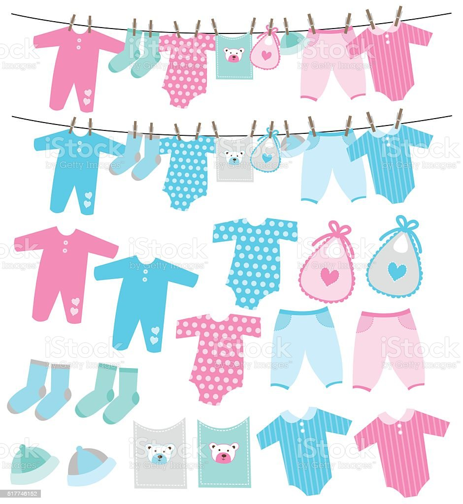 Vector set of baby clothes on clothesline vector art illustration