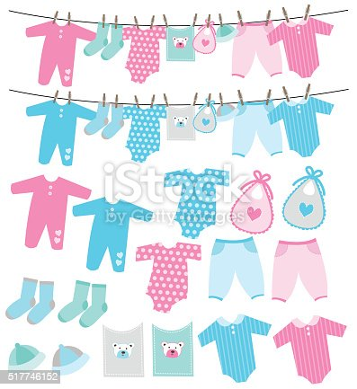Vector Set Of Baby Clothes On Clothesline Stock Vector Art