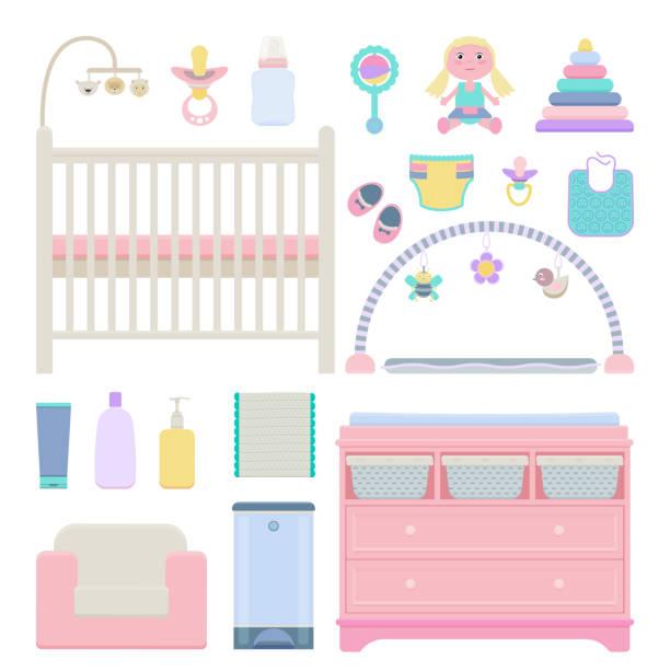 vector satz von baby-objekten - wickeltisch stock-grafiken, -clipart, -cartoons und -symbole