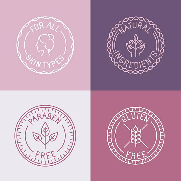 wektor zestaw naszywki i symbolizujące w modny styl liniowy - pieczęć znaczek stock illustrations