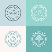 Vector set of badges and emblems in trendy linear style for organic and natural cosmetic packaging - cruelty free, not tested on animals, organic product, sustainable developments