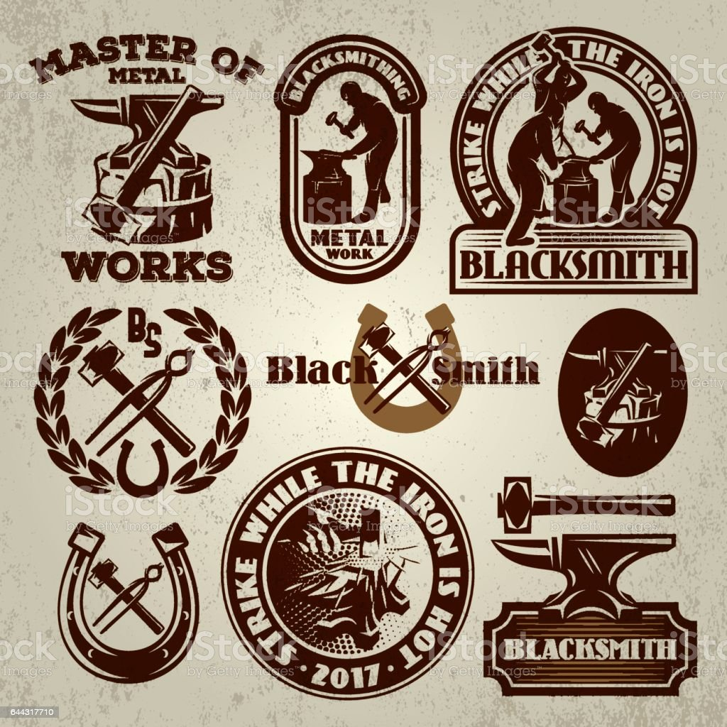 vector set of badges, design elements, templat for logo design on the theme of blacksmithing vector art illustration