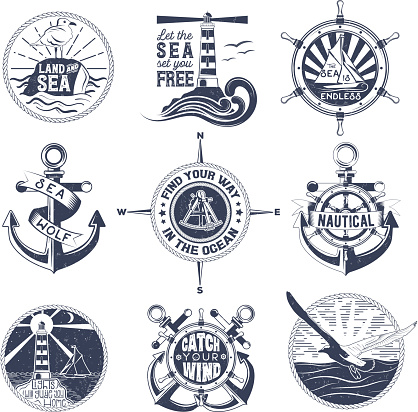 Vector set of badges with a general theme of the sea with the image of a wash, gulls, steering wheel, anchors for your design, printing, print on the T-shirt and the Internet.