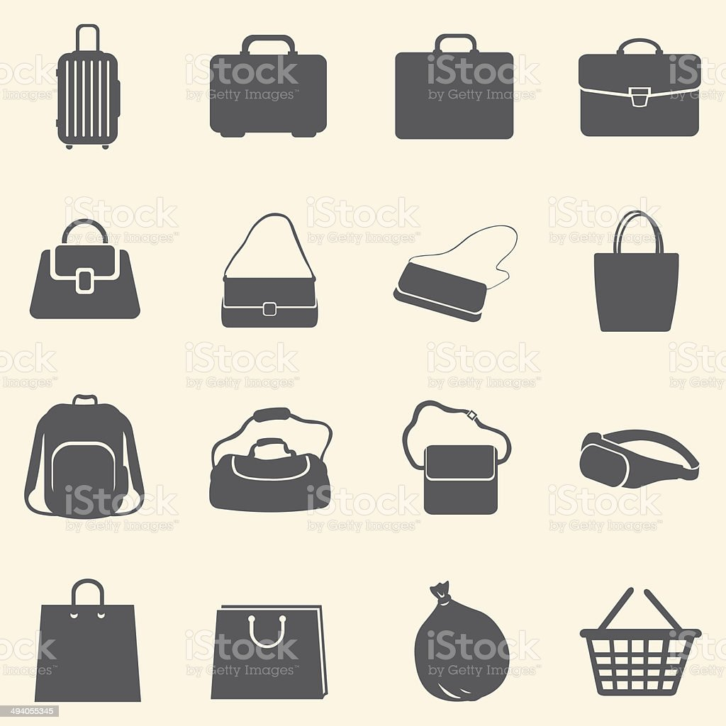 Vector Set of Bags Icons vector art illustration