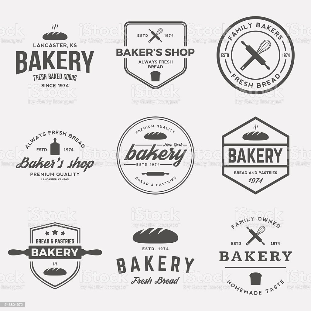 vector set of bakery labels, badges and design elements vector art illustration