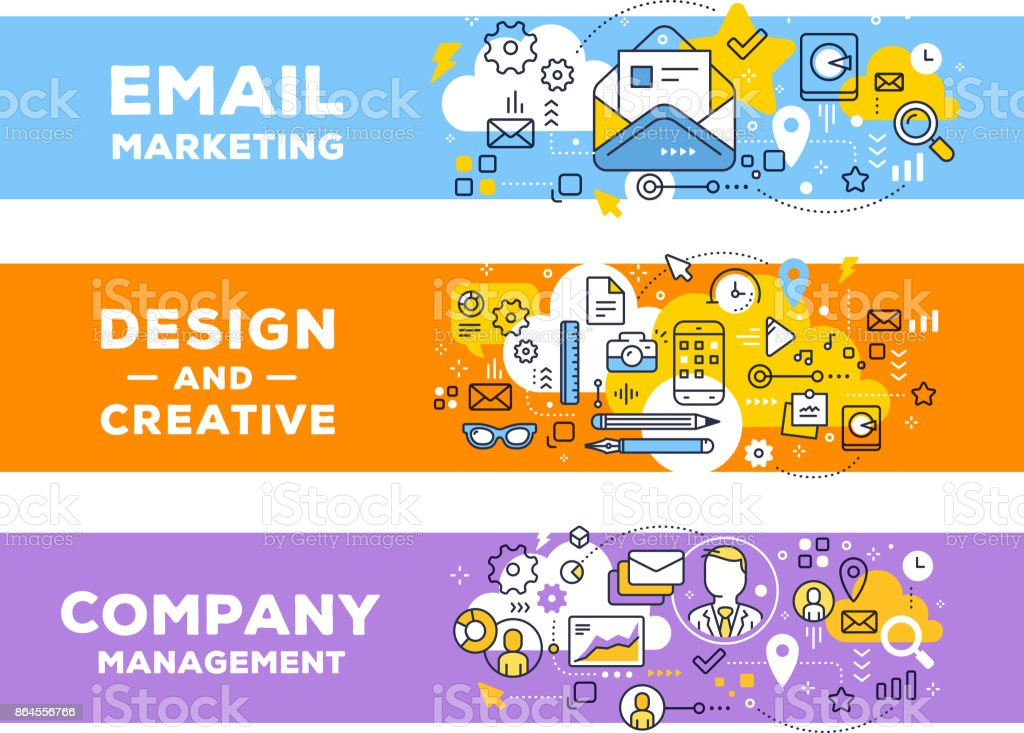 Vector Set Of Banner Illustrations With Business Elements Email Marketing Management Concept On Color