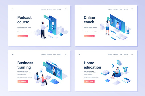 Vector set of banners advertising contemporary online coaching and business training