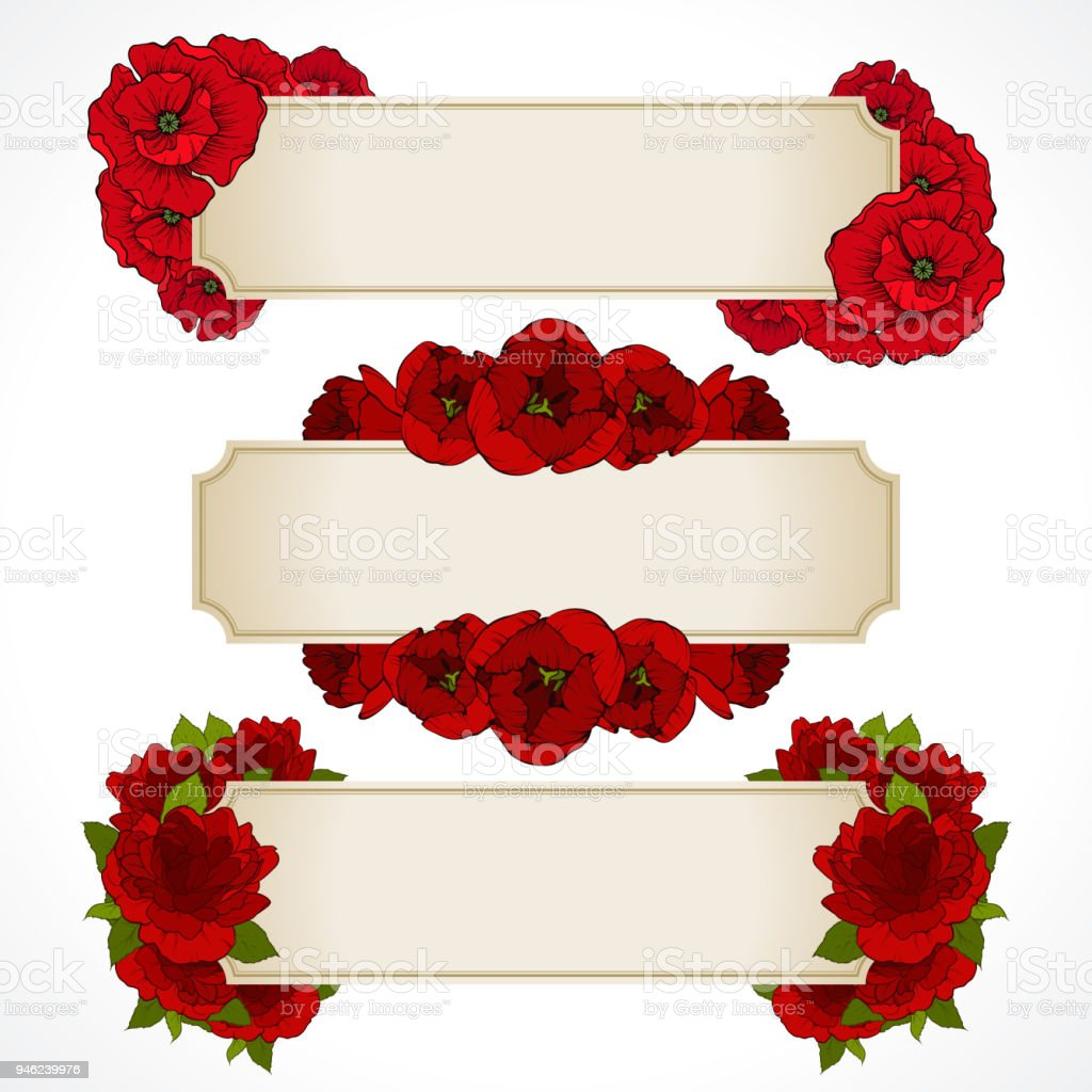 Vector Set Of Banners With Red Flowers Greeting Card Valentines Day ...