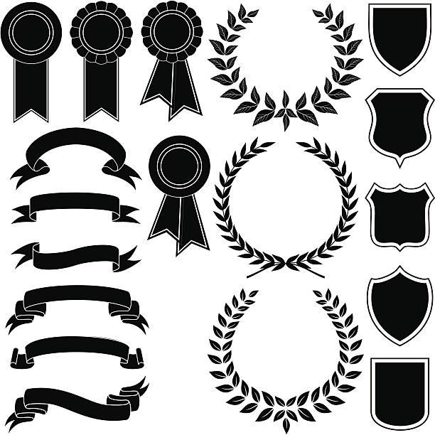 stockillustraties, clipart, cartoons en iconen met vector set of banners , wreath and emblem - klimop