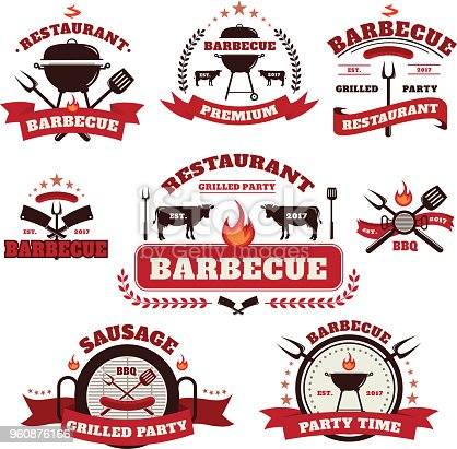 Vector Set of Barbecue logo with grill and labels design elements